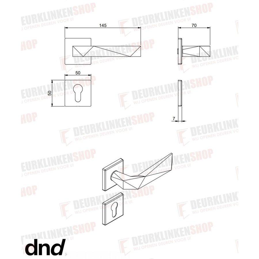 Deurklinken Luxury 02 op vierkante rozetten in Graphite PVD