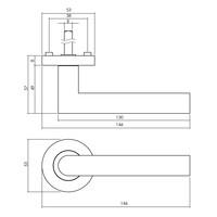 Massieve deurkruk Bastian op ronde rozet 53x8mm met nokken mat zwart
