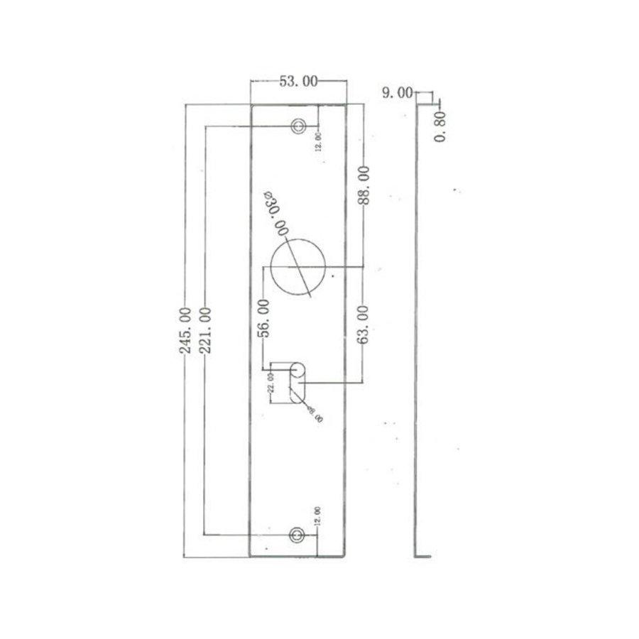 Stainless steel door handles Jersey on rectangular shield