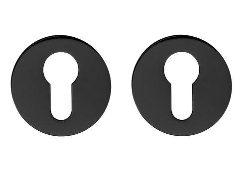 Paire de plaques cylindriques noires 7 mm pour poignée de porte DND IKI