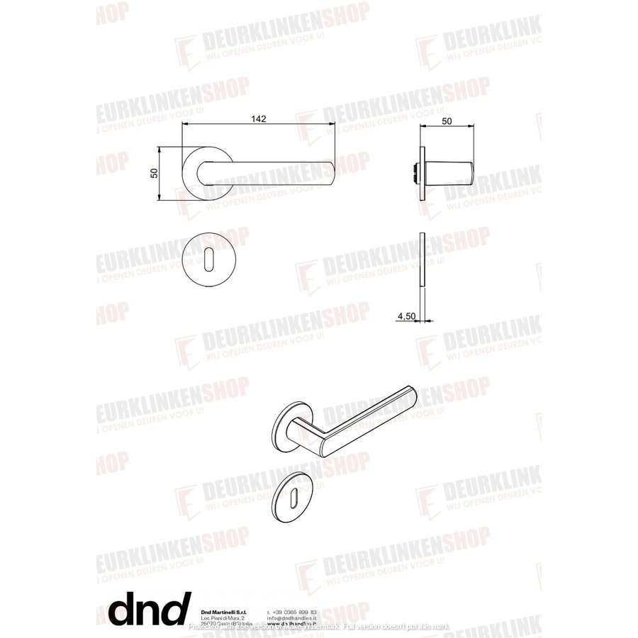 DND paar zwarte sleutelplaatjes 4 mm voor deurkruk Luce
