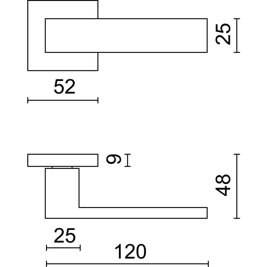 Massieve RVS deurklinken 'Square 1' zonder sleutelplaatjes