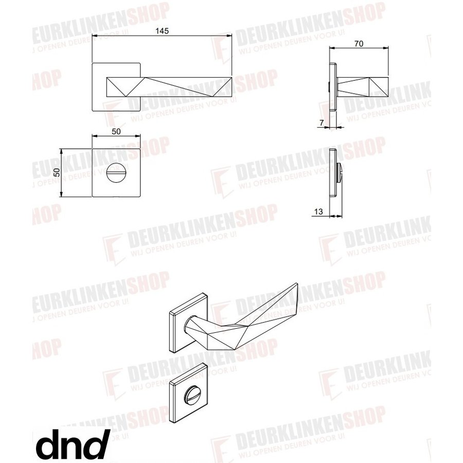 Zwarte deurkruk Luxury 02 op vierkant rozet