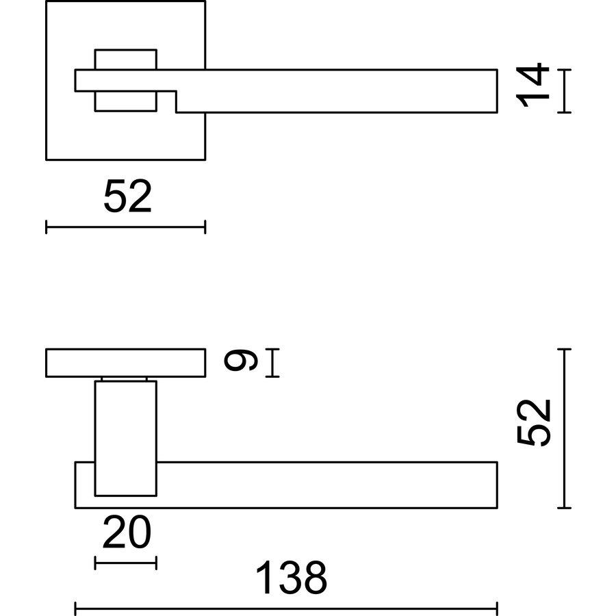 Massieve RVS deurklinken 'Square 2' met cilinderplaatjes