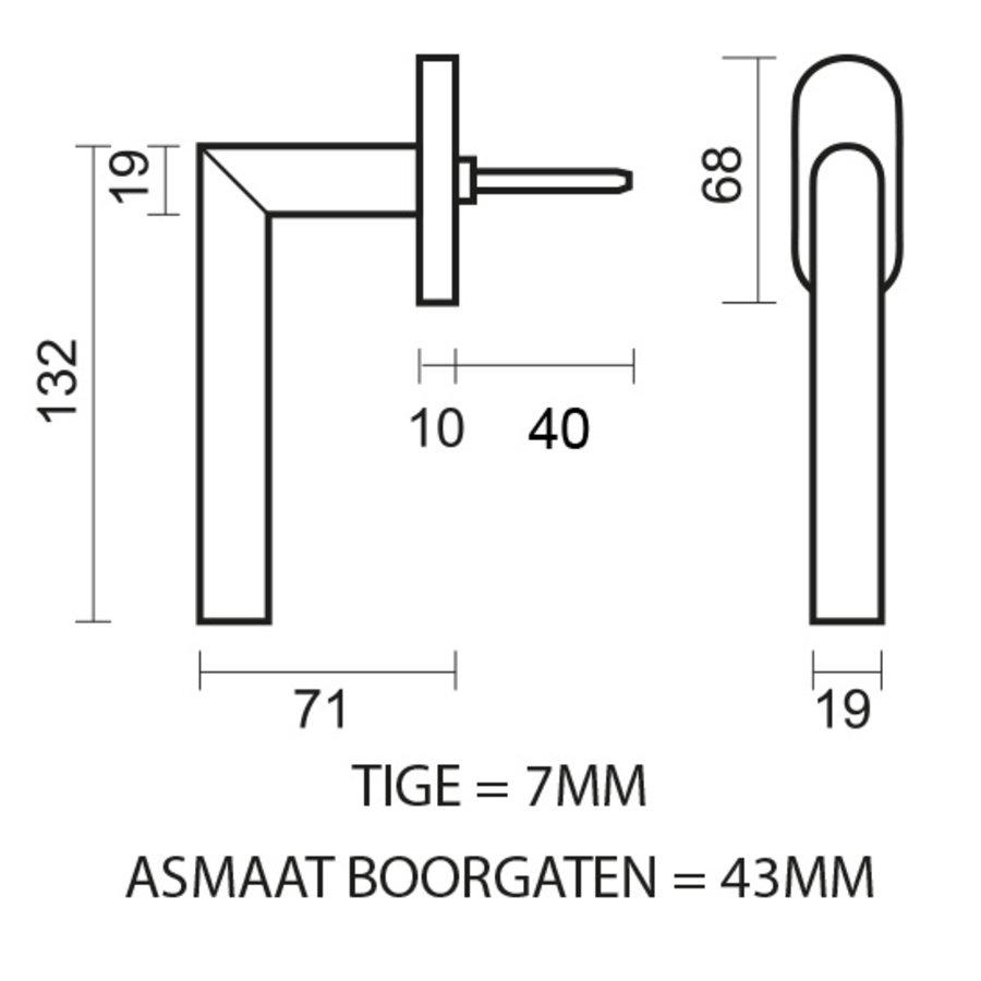 RVS raamkruk I Shape 19mm