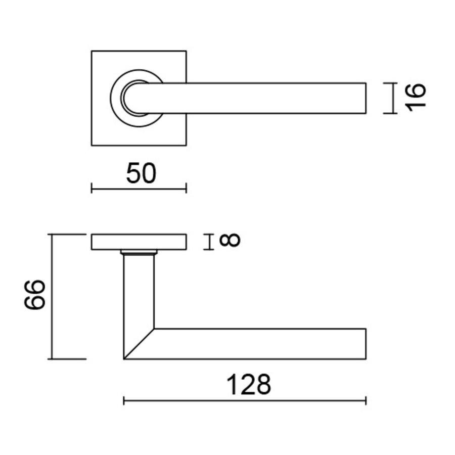 RVS deurklinken Square I shape 16 mm met cilinderplaatjes
