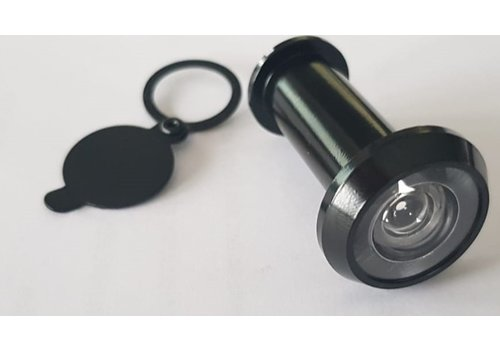 Zwarte deurspion 180° - deurdikte 35-55mm