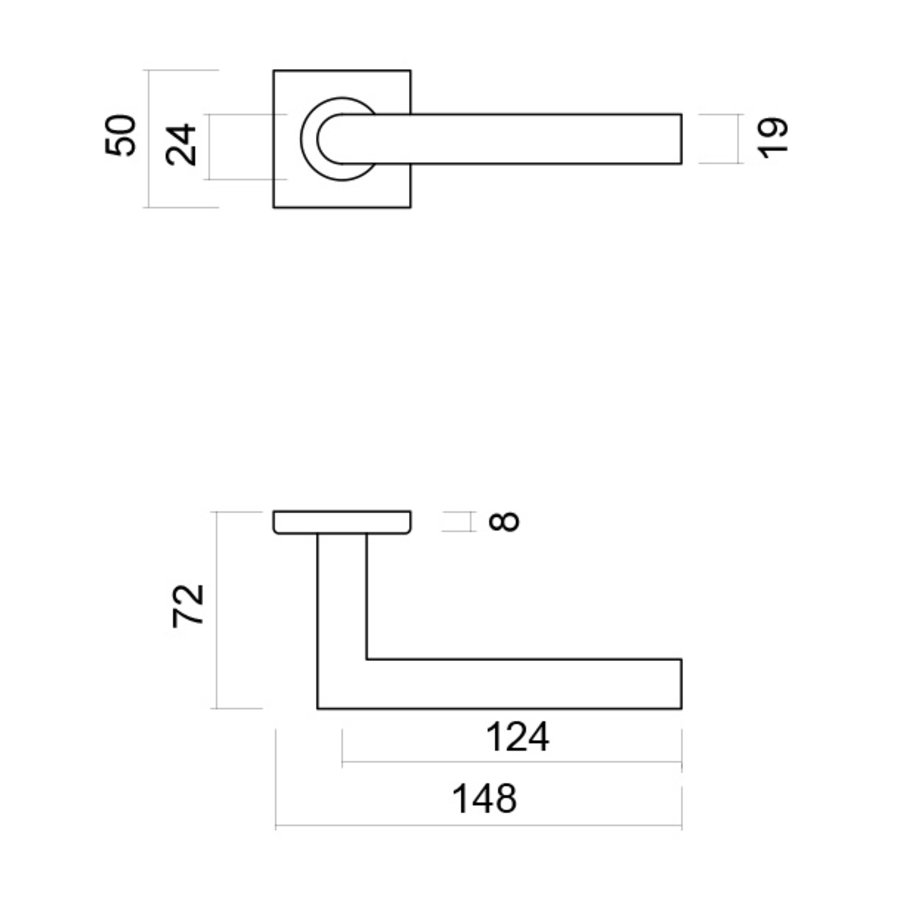 RVS deurklinken Square I shape 19 mm no key