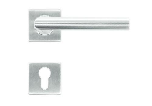 RVS deurklinken Square I shape 19 mm met cilinderplaatjes