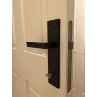Black Cosmic door handle on plate with keyhole