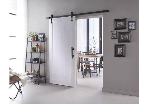 DIY porte coulissante Legno 2115x930x38mm MDF blanc apprêté + système de suspension noir Forme de flèche avec poignée / cuvette de porte coulissante