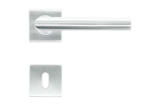 Poignées de porte en acier inoxydable plates carrées en forme de I 19mm avec plaques de clé