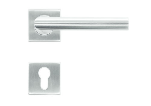 Deurklink flat square I-shape 19mm inox plus + cyl