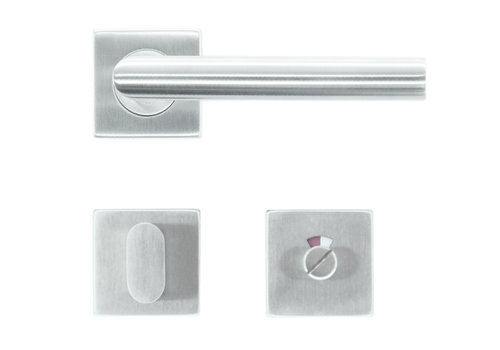 Deurklink flat square I-shape 19mm inox plus + wc