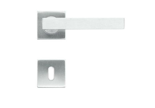 RVS deurklinken flat kubic shape 19mm met sleutelplaatjes