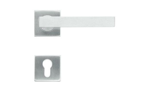 RVS deurklinken flat kubic shape 19mm met PZ