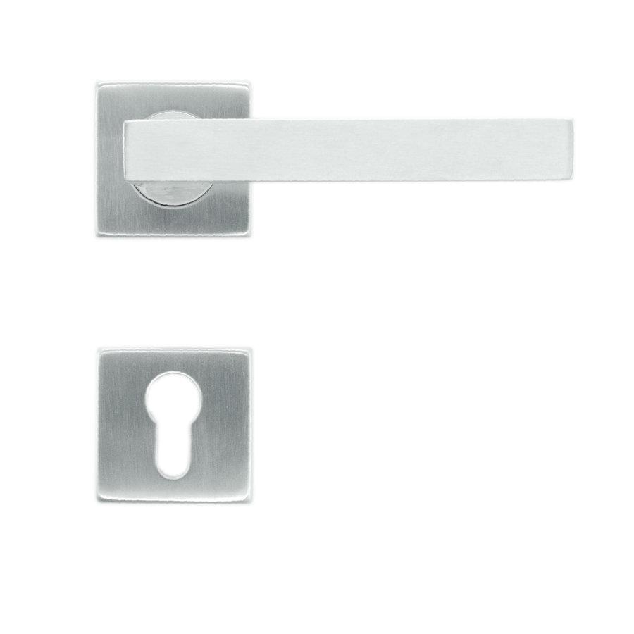 RVS deurklinken flat kubic shape 19mm inox plus met cilinderplaatjes