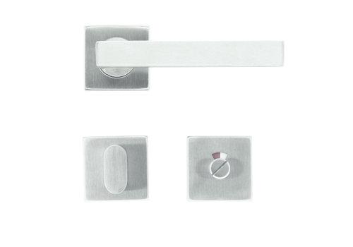 Deurklinken flat kubic shape 19mm inox plus + wc