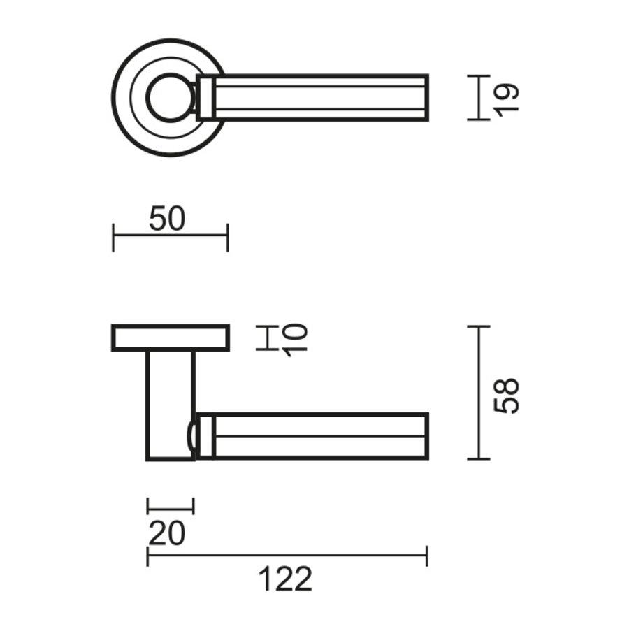 RVS deurklinken Sixa met cilinderplaatjes