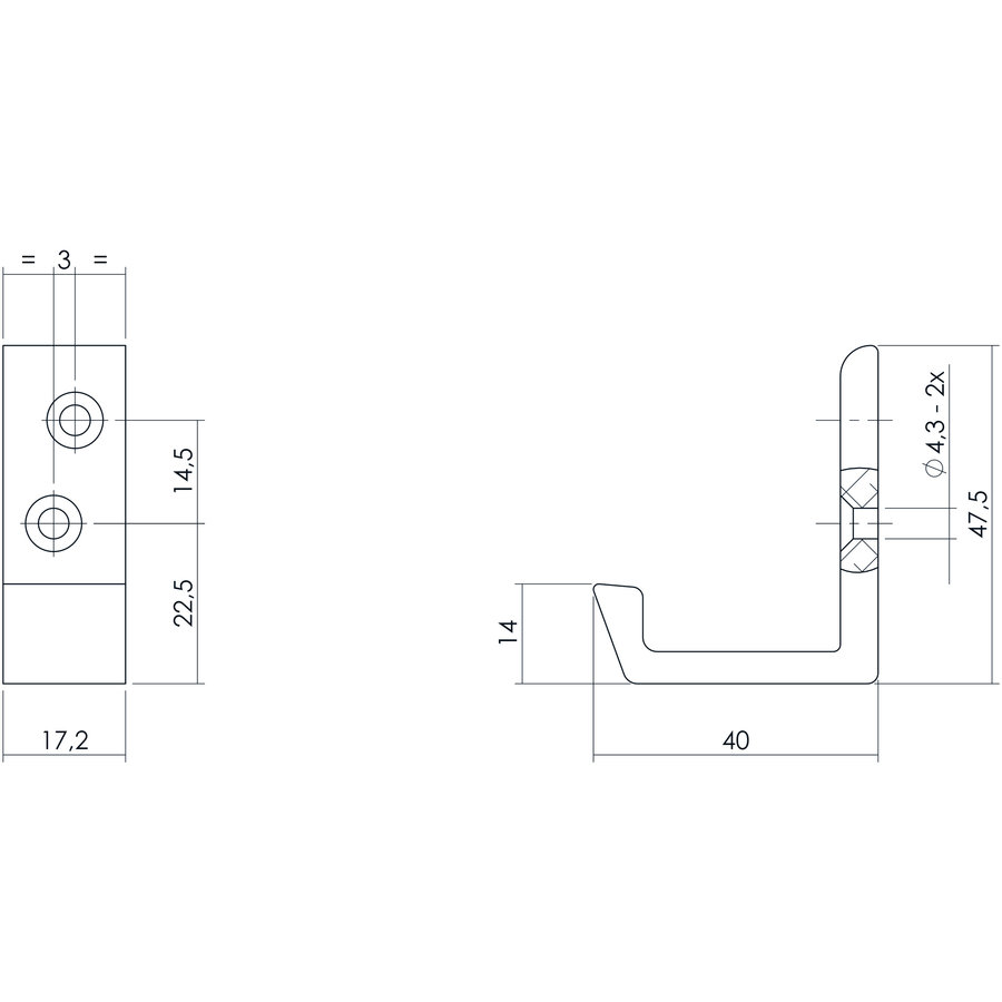 Intersteel Jashaak 40 mm aluminium diagonaal