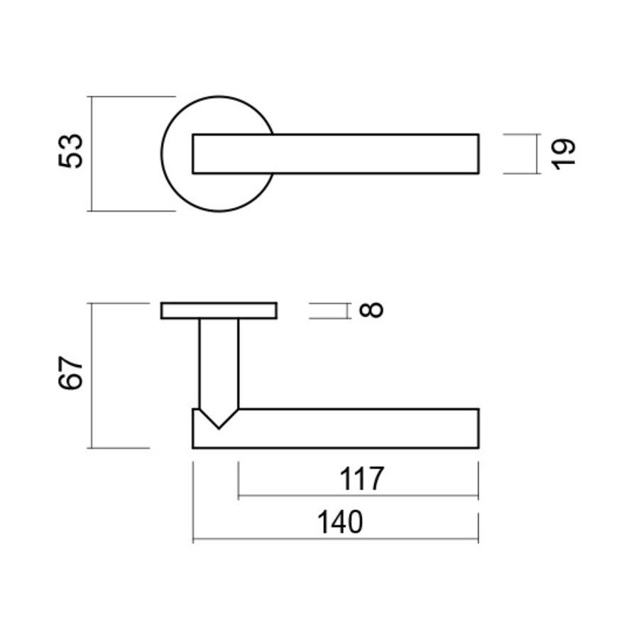 Deurklinken T shape 19mm inox plus no key