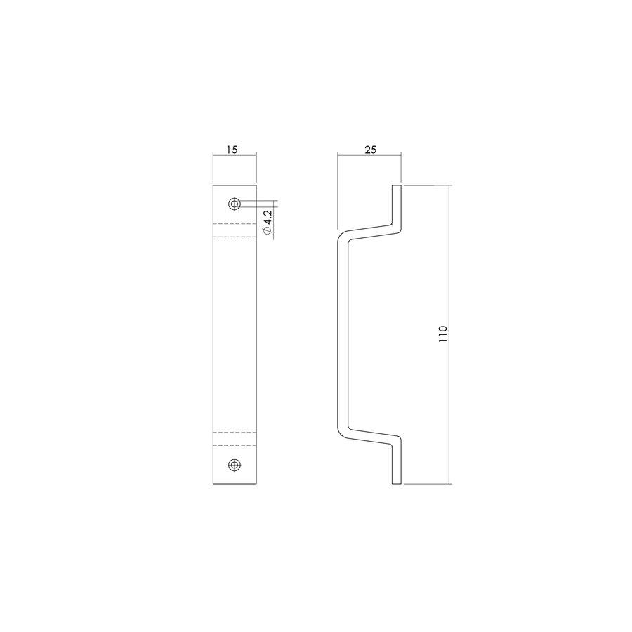 Intersteel Handgreep 110mm aluminium F1