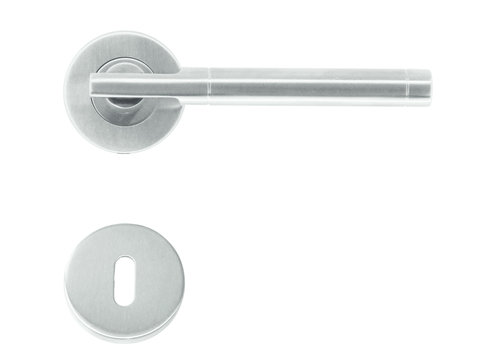 Poignées de porte Pluto en acier inoxydable plus avec plaques à clés