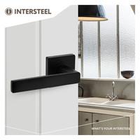 Intersteel Door handle Hera on square rosette matt black