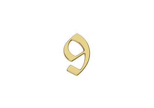 Brass lacquered house number 9 -120mm Gothic