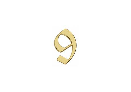 Numéro de maison Intersteel Gothic 9, laiton laqué