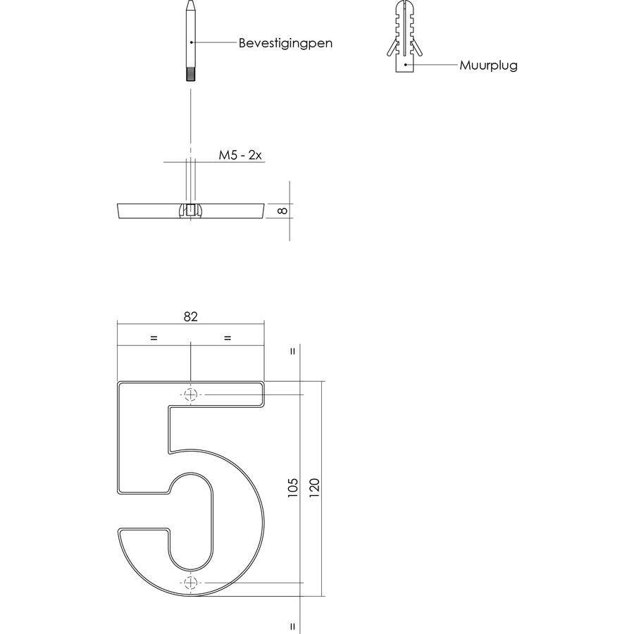 Messing gelakt huisnummer 5 met een hoogte van 120mm