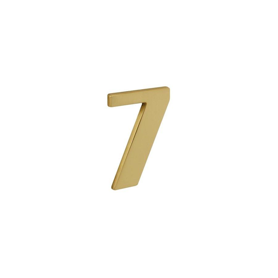 Messing gelakt huisnummer 7 met een hoogte van 120mm