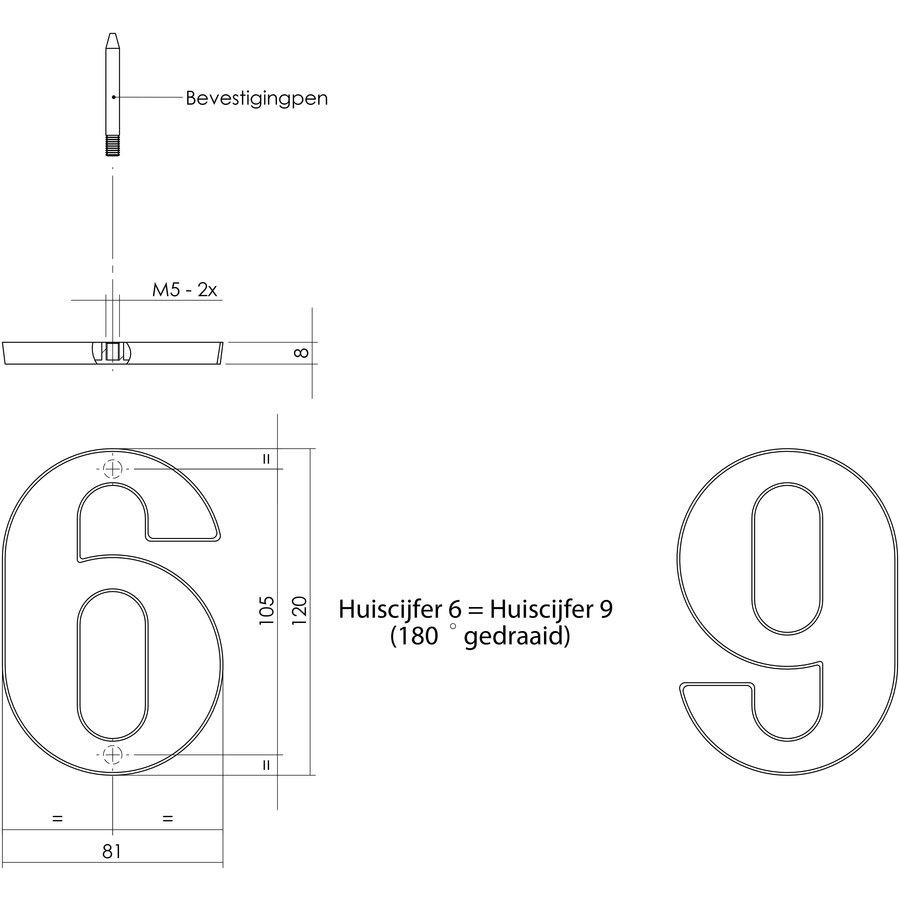Messing gelakt huisnummer 9 met een hoogte van 120mm