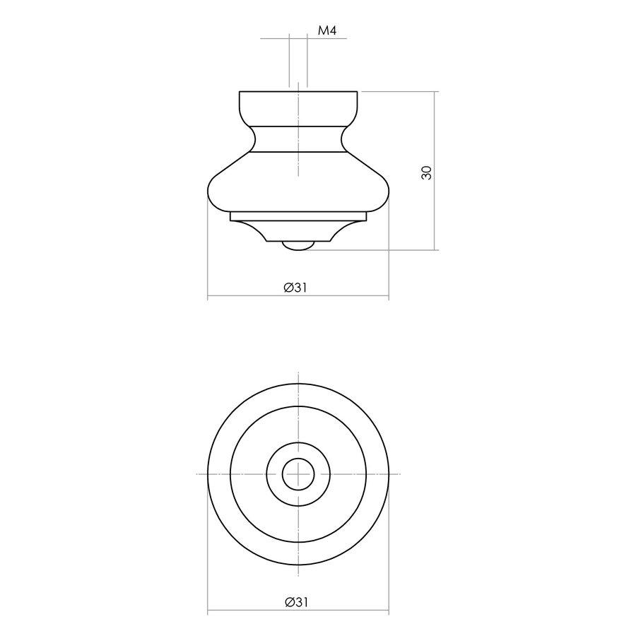 Intersteel Knop 23/30mm punt/klein essenhout