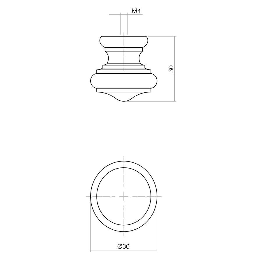 Intersteel Knop 25/30mm paddestoel/rand essenhout