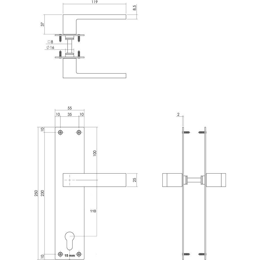 Deurkruk Amsterdam met cilindergat van 110mm mat zwart op schild