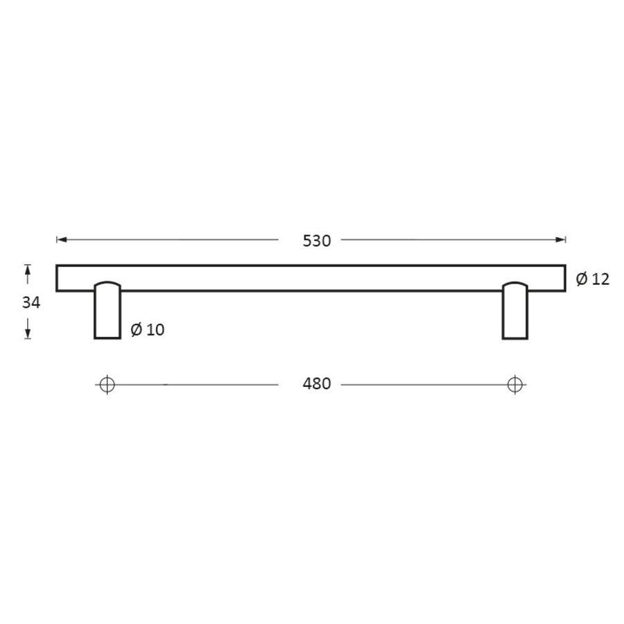 RVS Meubelgreep Ø12 mm, asmaat 480, lengte 530 mm rvs geborsteld