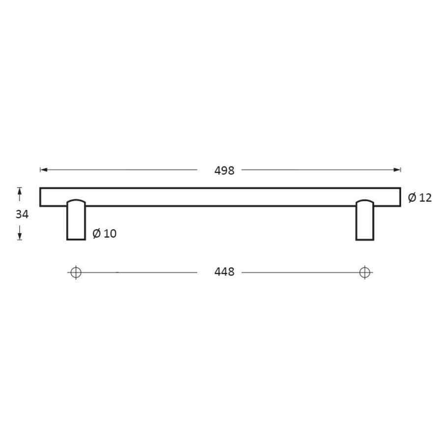 Intersteel Meubelgreep Ø12 mm, lengte 498 mm rvs geborsteld