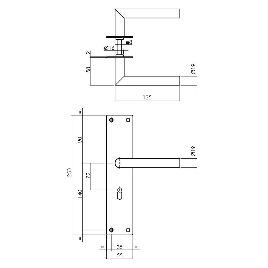 Deurkrukken Jura op renovatieschild zwart sleutelgat 72mm