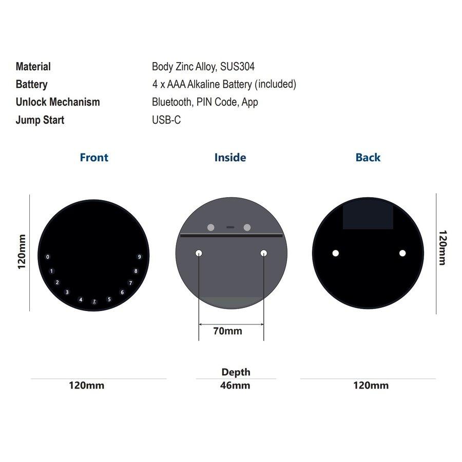 Coffre-fort à clé noire avec Bluetooth et code PIN