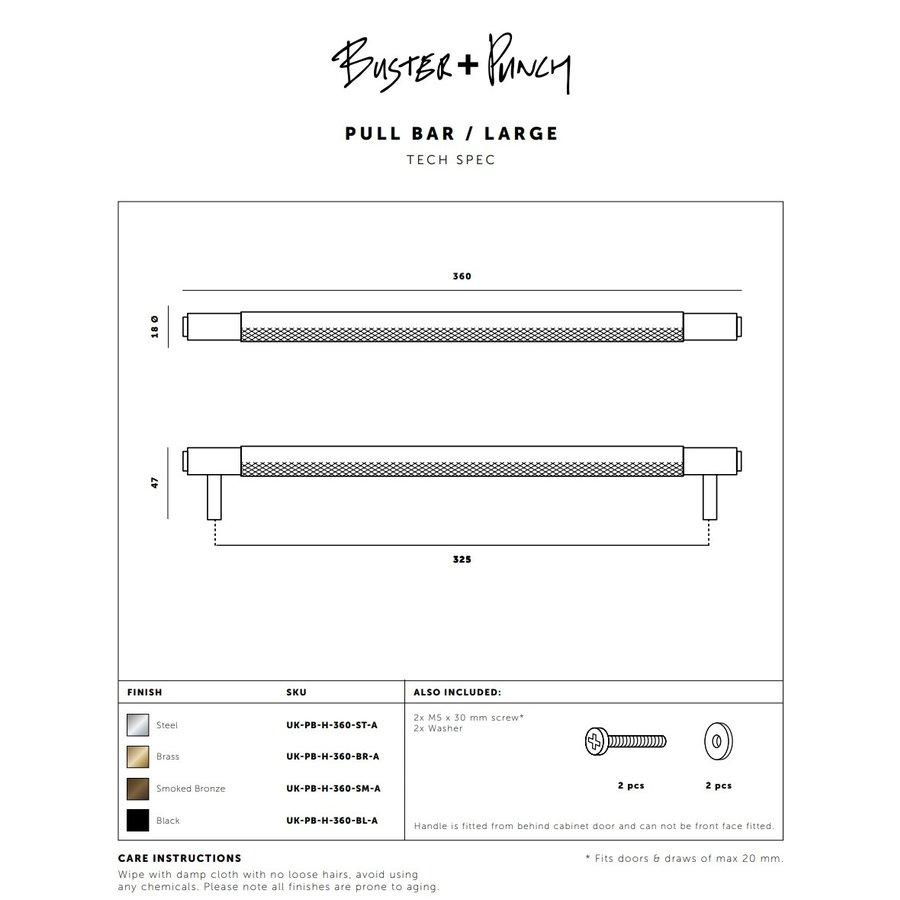 Zwarte meubelgreep / groot 360mm / Buster&Punch