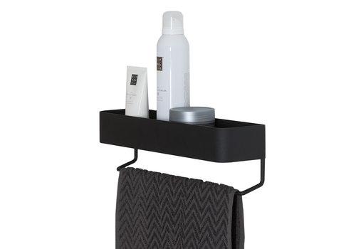 Sealskin shelf with towel rail Brix metal black
