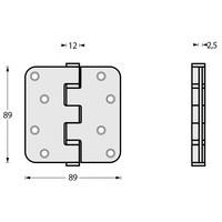Intersteel Kogellagerscharnier 89x89x2.5mm tot 70 kilo RVS geborsteld