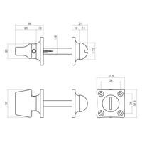 Intersteel Rozet toilet-/badkamersluiting vierkant basic nikkel
