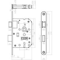 Klavier Dag en Nachtslot met asmaat 55mm, afgeronde RVS voorplaat 20x175mm, doorn 50mm
