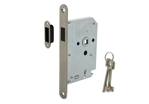 Intersteel Residential building magnetic keyboard day and night lock 55mm, front plate rounded stainless steel