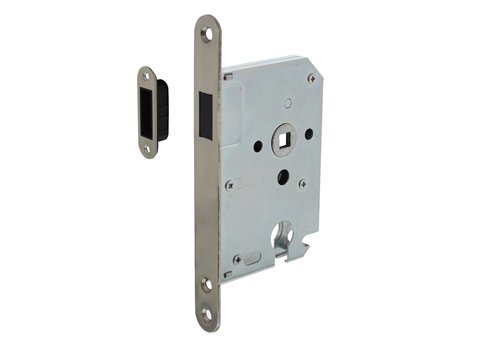 Intersteel Residential building magnet cylinder day and night lock 55mm, front plate rounded stainless steel