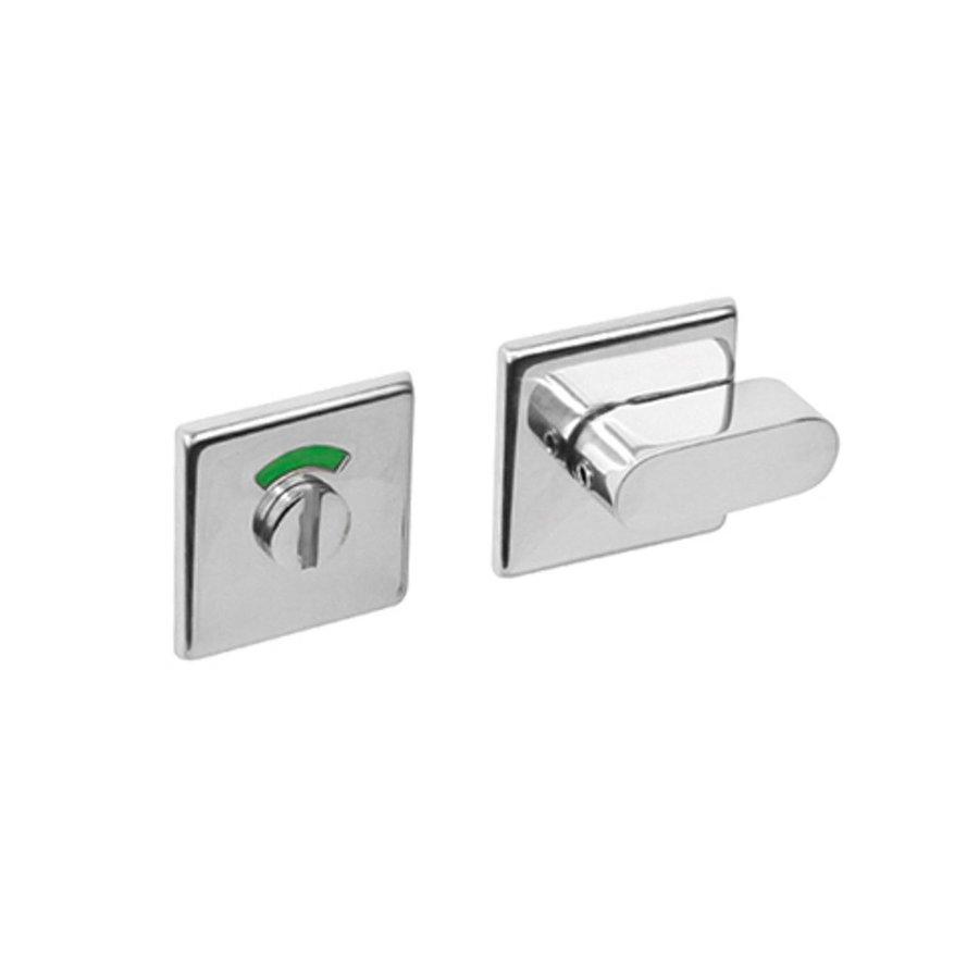 wc sluiting 8 mm staal verdekt vierkant 50x50x5mm met comfortknop rvs gepolijst