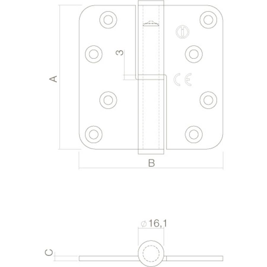 Intersteel Kogelstift paumelle Links (= DIN rechts) 89x89x3mm rvs geborsteld
