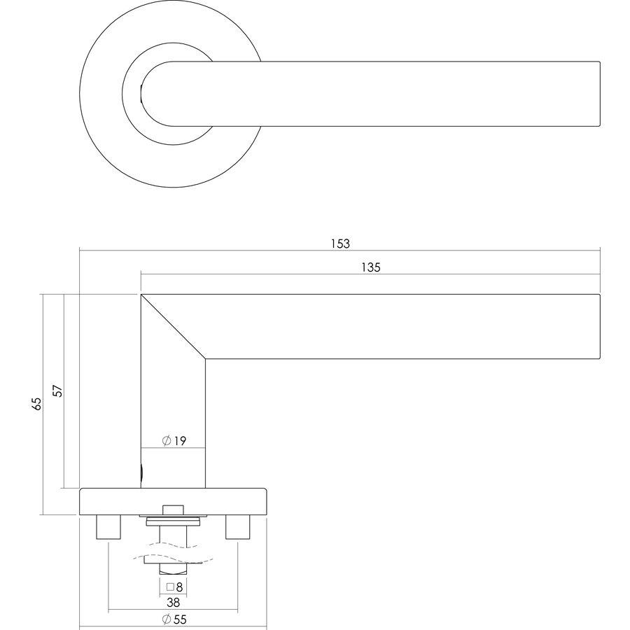 Intersteel Deurkruk Hoek 90° op geveerde kunststof rozet 55x8mm met nokken rvs geborsteld EN1906/3